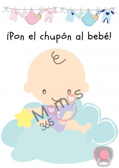 Poster de juego interactivo baby shower Pon el chupón al bebé